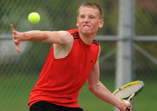 Bangor tennis player John Szewczyk takes on Brewers Josh Theriault in Brewer on Wednesday, May 16, 2012.