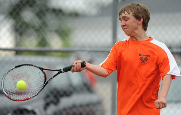 Josh Theriault takes on Bangor's John Szewczyk in Brewer on Wednesday, May 16, 2012.