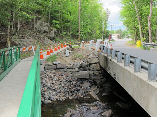 A truck hauling trash to the Bar Harbor transfer station went off of the road and crashed into Cromwell Harbor Brook on Sunday, May 27, 2012. The driver was injured in the accident and an unknown amount of diesel fuel leaked into the stream.