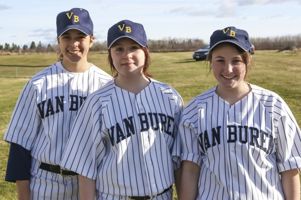 Three Van Buren girls are playing baseball for Van Buren due to lack of numbers for the softball program. From left are senior Naomi Maldonado, freshman Amanda Sytulek and sophomore Kayla Durette.