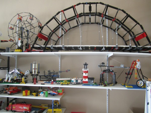 A sampling of Maine Robotics Director Tom Bickford's extensive collection of LEGO constructions at his home in Orono.