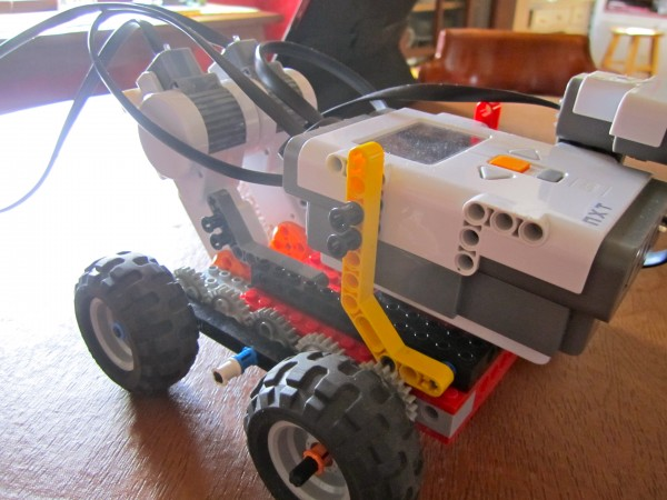 A LEGO robotics car.