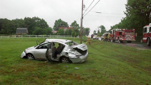 This 2012 Nissan Versa sedan driven by Jacqueline McDowell crashed and rolled several times along Ridge Road in Lisbon Monday morning.