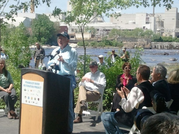 United States Secretary of the Interior Ken Salazar speaks before the Old Town dam removal begins on Monday, June 11, 2012.