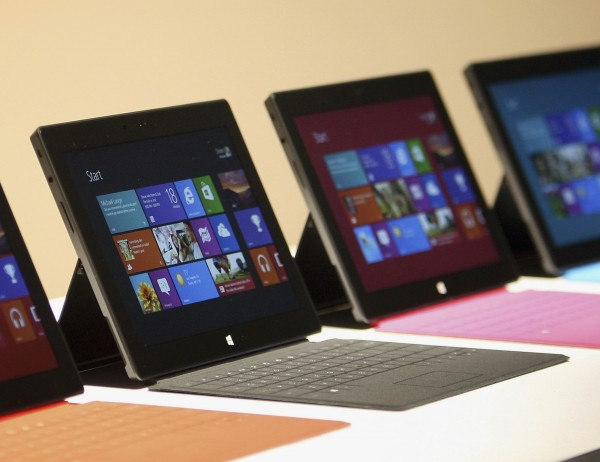 New Surface tablet computers with keyboards are displayed at its unveiling by Microsoft in Los Angeles, California, June 18.