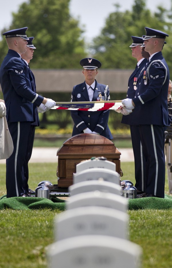 Air Force Lt. Col. Charles M. Walling of Phoenix, whose F-4 Phantom jet crashed during a mission in Vietnam in 1966, is buried with full military honors at Arlington National Cemetery in Arlington, Va., Friday, June 15, 2012. Walling's remains were recovered in 2010. He is survived by his sons, Mike and Jeff Walling of Scottsdale, Ariz.