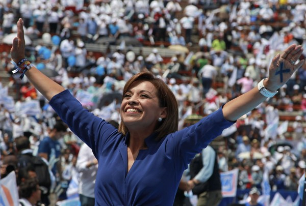 National Action Party (PAN) presidential candidate Josefina Vazquez Mota gestures to the crowd during a campaign rally in Mexico City on Saturday, June 23, 2012. Mexico will hold its presidential election on July 1.