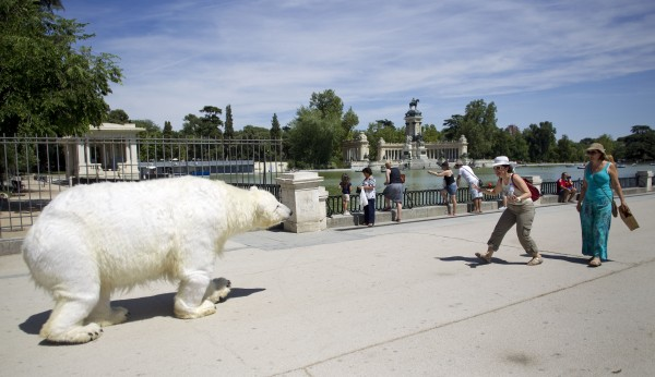 A Greenpeace human-operated polar bear puppet walks toward tourists at Retiro park lake in Madrid, Spain on Saturday, June 23, 2012. The polar bear is part of the Greenpeace Arctic Rising campaign, with polar bears appearing all over the world in major cities and at well-known landmarks, to raise awareness about the threats to the Arctic.