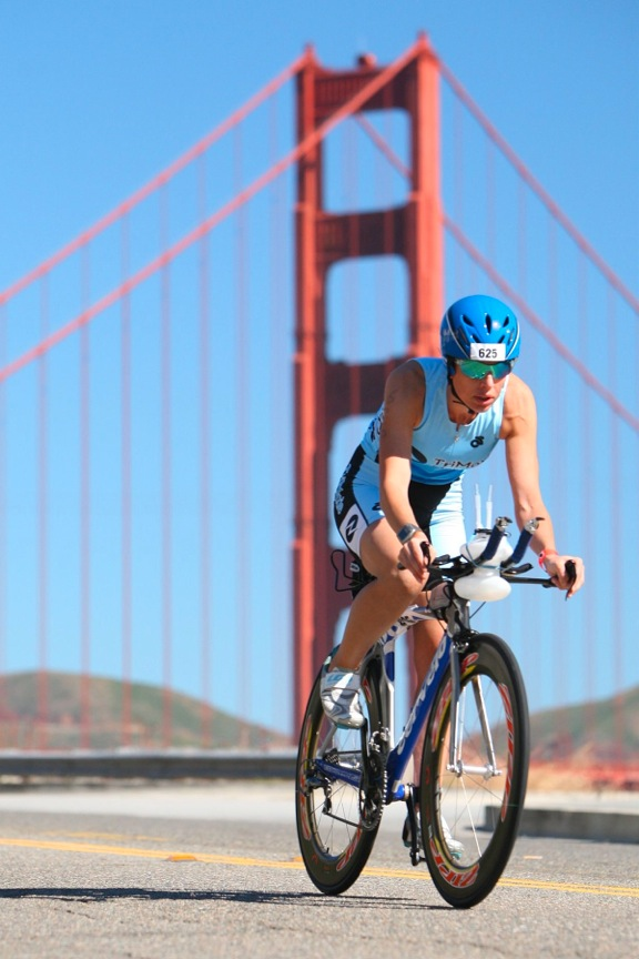 Beth Anderson of Northport competes in the 18-mile bike portion of the 32nd Escape from Alcatraz Triathlon on June 10, 2012 in San Francisco.