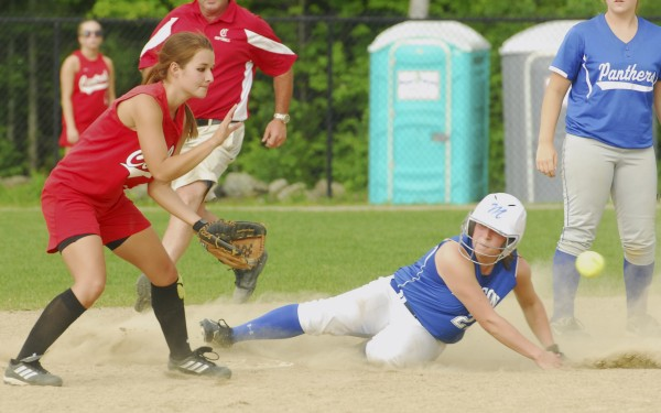 Kayla Belanger (27) of Madison High School slides in under the glove of Brianna Speed of Central High School in the eighth inning, at second  for a stolen base on Thursday, June 20, 2012, during the Class C and D All-Star game at Cony High School in Augusta.