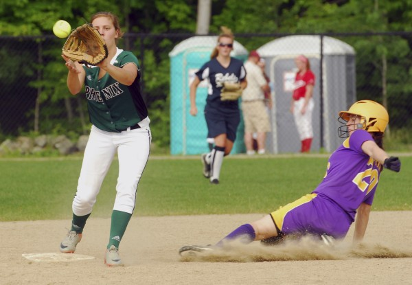 Alexi Deering of Spruce Mountain High School takes the throw as Bailey Blair of Bucksport High School is out at second in the eighth inning Thursday, June 20, 2012, during the Class C and D All-Star game at Cony High School in Augusta.