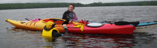 What to do next? Karen Francoeur demonstrating an assisted kayak rescue.