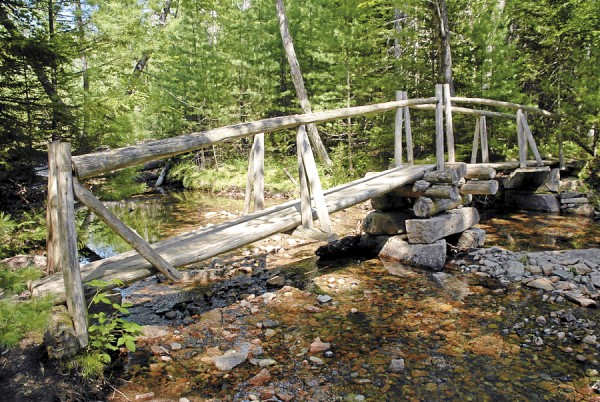 The Asticou Trail crosses Little Harbor Brook in Acadia National Park on a quaint cedar-log footbridge.