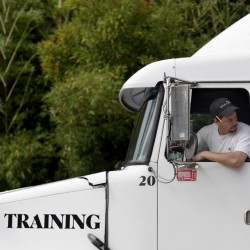 Truck driving students undergo rigorous training