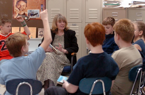 In this file photo from Dec. 2004, Lynn Bonsey teaches reading and writing to sixth-, seventh- and eighth-graders at Surry Elementary School. She was one of the first educators in the nation to gain certification from the National Board of Professional Teaching Standards.