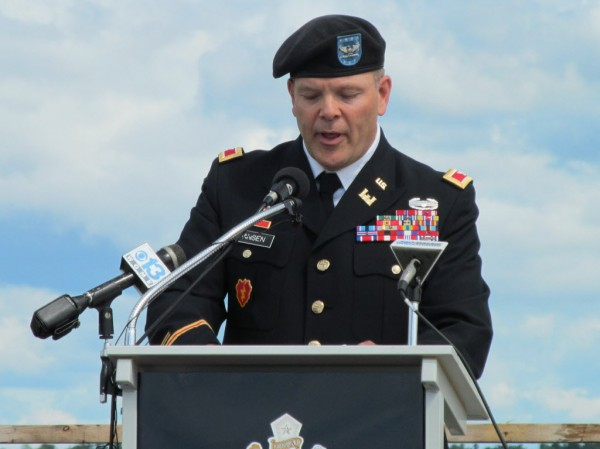 Col. John Jansen, chief of staff of the Maine Army National Guard, addresses attendees of the grand opening of the new Veterans Memorial Bridge connecting Portland with South Portland Thursday, June 28, 2012.