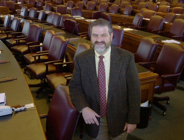 Maine House Minority Leader Joseph Bruno, R-Raymond, stands by his seat in the House chamber at the State House in Augusta, Maine, Friday, Jan. 17, 2003.
