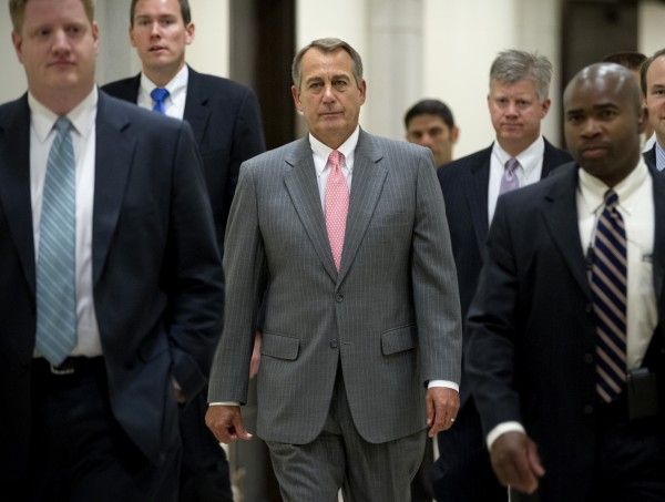 House Speaker John Boehner of Ohio walks to a news conference on Capitol Hill in Washington, Thursday, June 28, 2012, after the Supreme Court's ruling on the Affordable Care Act.