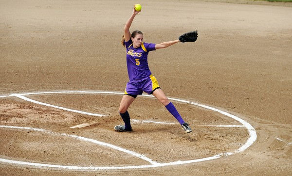 Cassidy Adams winds up for a pitch in the Class C State Softball Championship on Saturday, June 16, 2012, at Saint Joseph's College in Standish. The Golden Bucks topped the Cougars 2-0.