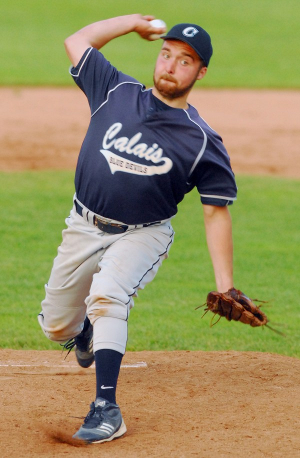 Calais' Adam Geel delivers a pitch during Tuesday's Eastern Maine Class C final against Dexter in Bangor. Calais won 4-0 and advanced to Saturday's 4 p.m. state final against Dirigo at St. Joseph's College in Standish.