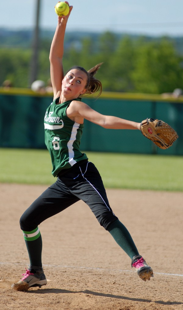 Old Town's winning pitcher Kendra Hayward led her team to a  4-1 victory over Fryeburg Academy in the Class B State Championship game Saturday afternoon, June 16, 2012, at Coffin Field in Brewer.