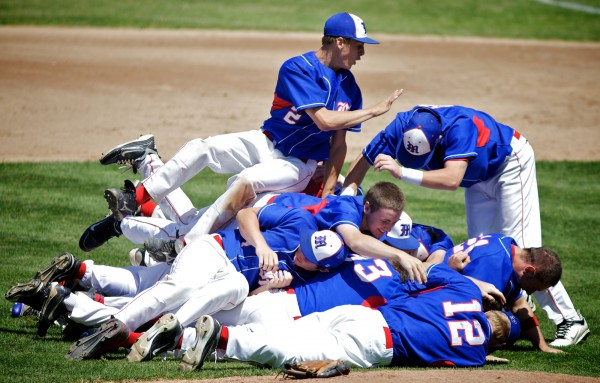 Messalonskee High School players celebrate after winning the State Class A Baseball Championship Game in Standish on Saturday, June 16, 2012.