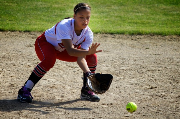 South Portland High School's Laurine German fields a grounder in the infield on Saturday, June 16, 2012 in Standish at the State Class A Softball Championship Game.