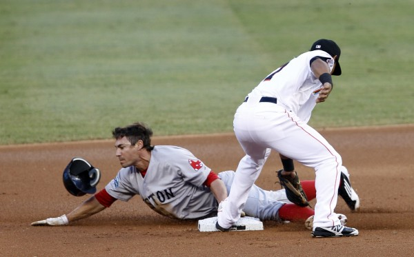 Boston Red Sox's Scott Podsednik, left, steals second base as Miami Marlins second baseman Donovan Solano is late on the tag in the first inning of an interleague baseball game in Miami, Monday, June 11, 2012.