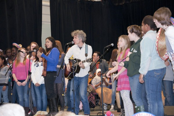 King Middle School students join Grammy-winning musician Dan Zanes on stage during arts education residency with Portland Ovations recently.