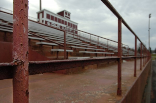 A rusted railing at Cameron Stadium, which is adjacent to the William S. Cohen School in Bangor.
