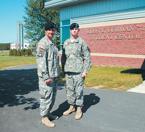 Major Darryl Lyon (left), and then 2nd Lt. John &quotJay&quot R. Brainard III (right), photographed Sept. 9, 2008 at Husson University. Capt. Brainard, an Army helicopter pilot from Newport, was killed on Memorial Day 2012 when the Apache helicopter he was piloting crashed.