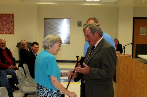 Lifelong Orrington resident Carolyn D. Howard was given the Boston Post cane by Town Manger Paul White at the annual town meeting, June 4, 2012.