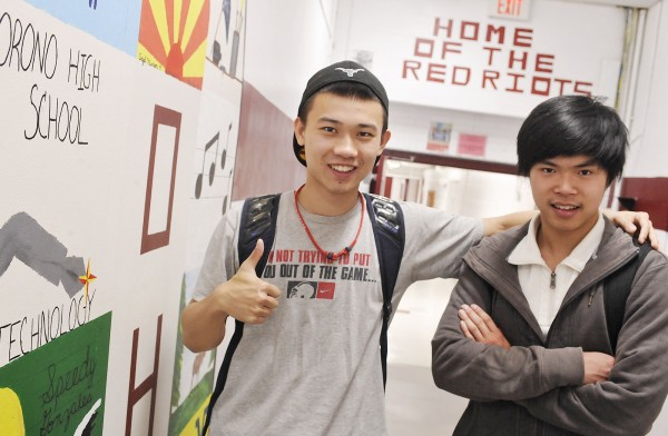 Chinese students Tim Mo (left) and William Wu have had quite a year at Orono High School, but are still excited to be going home soon to see family when their school year is out.