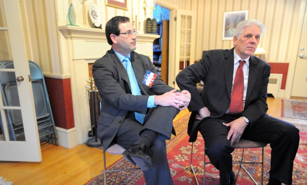 Christian Civic League of Maine Executive Director Carroll Conley (left) and the Rev. Bob Emrich, chairman of the board of directors for the group, are seen in January 2012.