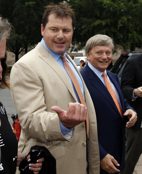 Former Major League Baseball pitcher Roger Clemens (left), with his attorney Rusty Hardin, arrives at federal court Monday, June 18, 2012 in Washington for the verdict in his trial on charges of lying to Congress in 2008 when he denied ever using performance-enhancing drugs.