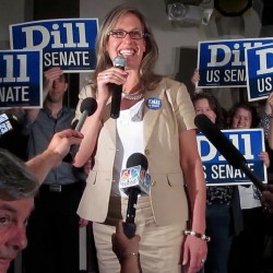 "Maine Sen. Cynthia Dill claims victory in the race for the Democratic nomination to run for the U.S. Senate on Tuesday, June 12, 2012, at a Democratic ""Victory Party"" at Bayside Bowl in Portland."