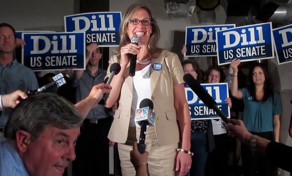 Maine state Sen. Cynthia Dill claims victory in the race for the Democratic nomination to run for the U.S. Senate on Tuesday, June 12, 2012, at a Democratic &quotVictory Party&quot at Bayside Bowl in Portland, Maine.