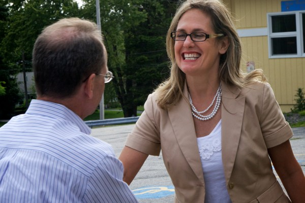 Democratic U.S. Senate primary candidate Cynthia Dill greets voters at the polls outside the Msgr. P.J. Hanagan Parish Center on Ocean Avenue in Portland on Tuesday, June 12, 2012.
