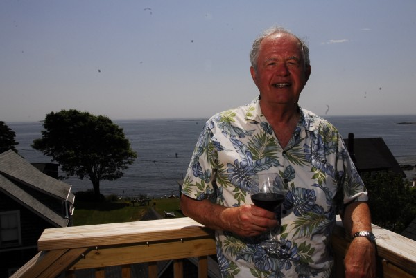 David Varney enjoys the deck and the views with a glass of Pinot on June 20, 2012.
