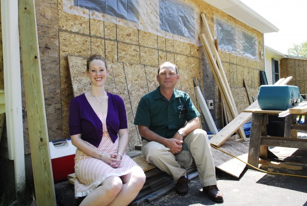 Amanda and Bruce Leland of Long Cove Builders outside a renovation site in Harpswell on June 20, 2012.