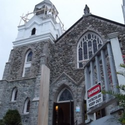 Climbing to the top of Hammond Street Church — on century-and-a-half-old stairs