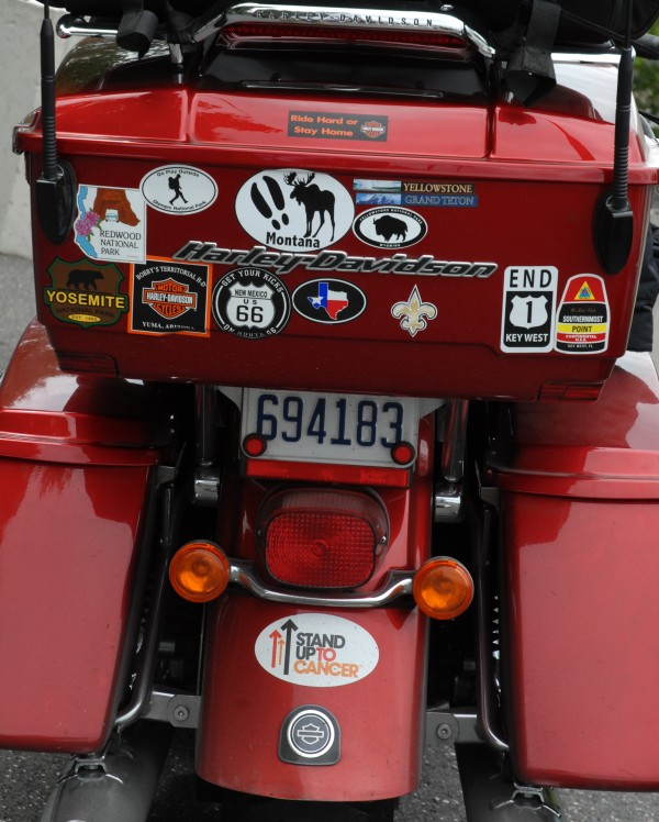 The back of Fred Carter's 2012 Harley-Davidson is decorated with stickers from some of the national parks and other stops he and his wife Rhonda Carter made on their Four Corners Bucket Ride.
