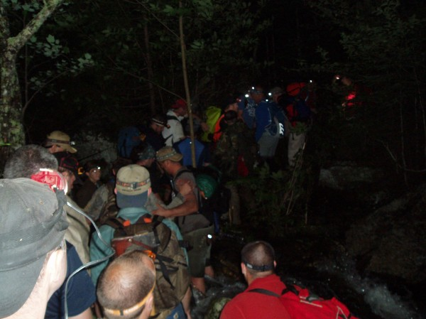 Rescuers carry out a Massachusetts man who had a knee problem while hiking the Appalachian Trail.