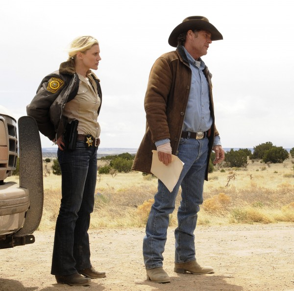 Katee Sackhoff (left) and Robert Taylor play a couple of sheriffs in Wyoming trying to solve a mysterious murder in A&E's new series, &quotLongmire,&quot premiering June 3.