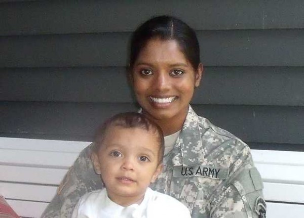 U.S. Army military policewoman, Sgt. Helaina Lake, 23, who is shown here with her son, Aden, 2, was severely injured in a suicide bombing in Afghanistan on Thursday, June 21, 2012. Lake is formerly of Livermore Falls and is a graduate of Livermore Falls High School.