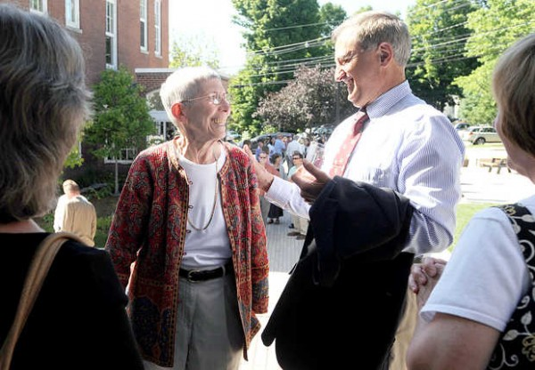 Theodora J. Kalikow talks with people during a community celebration at the Emery Arts Center in Farmington on Thursday. Kalikow is retiring after 18 years as president of the University of Maine at Farmington.