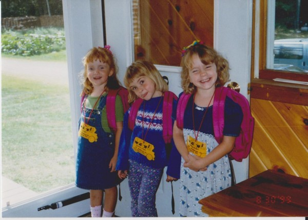 Wight triplets Kelly (from left), Jennifer and Shelby of Bucksport pose for a picture on their first day of school.