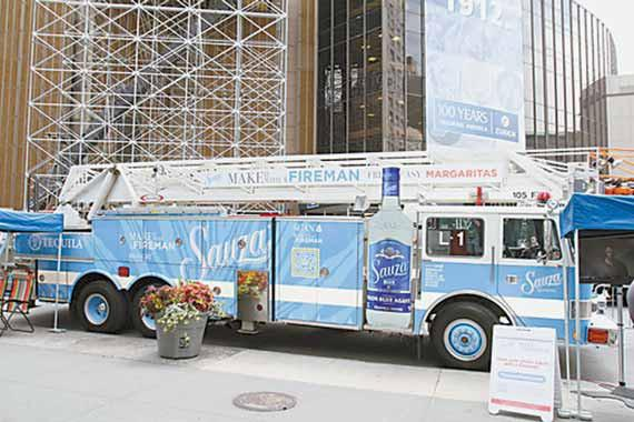 With a splash of blue paint and a coating of blue vinyl, the former Topsham Fire Department ladder truck has been making the rounds to major U.S. cities on a promotional tour for Sauza Tequila. Topsham replaced the ladder truck and its old Engine 3 with a combination pumper and ladder truck, wich arrived at the station on May 4.