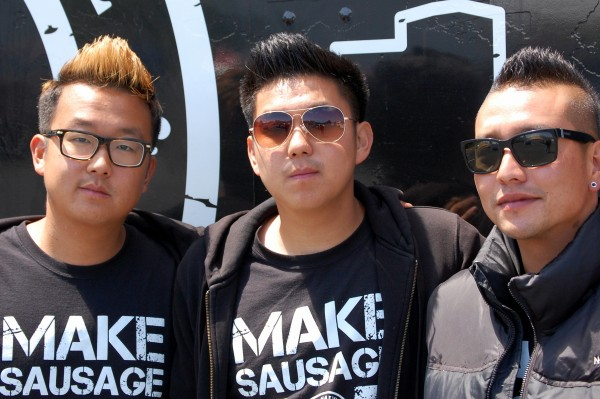 Some 3,000 miles from the streets of Los Angeles, the Seoul Sausage team of (from left) Yong Kim, Ted Kim and Chris Oh, expect to be serving up some spicy Asian sausages in Lubec on Tuesday, June 19. Only two teams remain in the Food Network's &quotThe Great Food Truck Race&quot television show.