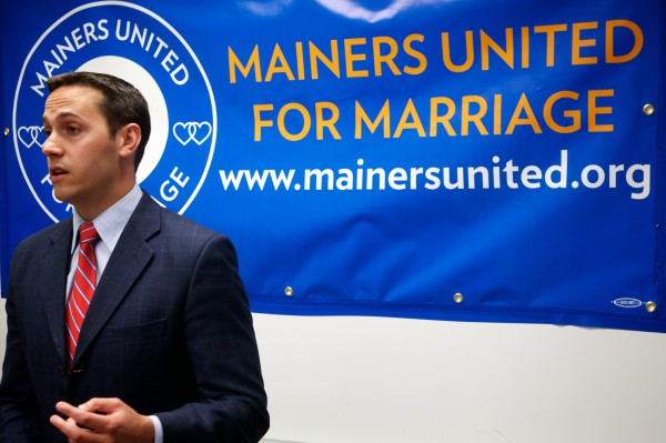 Mainers United for Marriage campaign manager Matt McTighe announces his organization will ask Maine Secretary of State Charlie Summer to change the wording on the gay marriage referendum at a press conference in Portland Wednesday June 20, 2012.